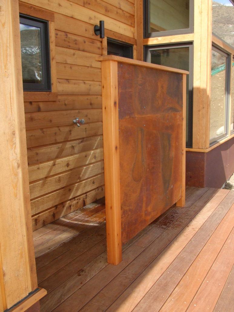 Custom exterior work outdoor shower in winthrop home