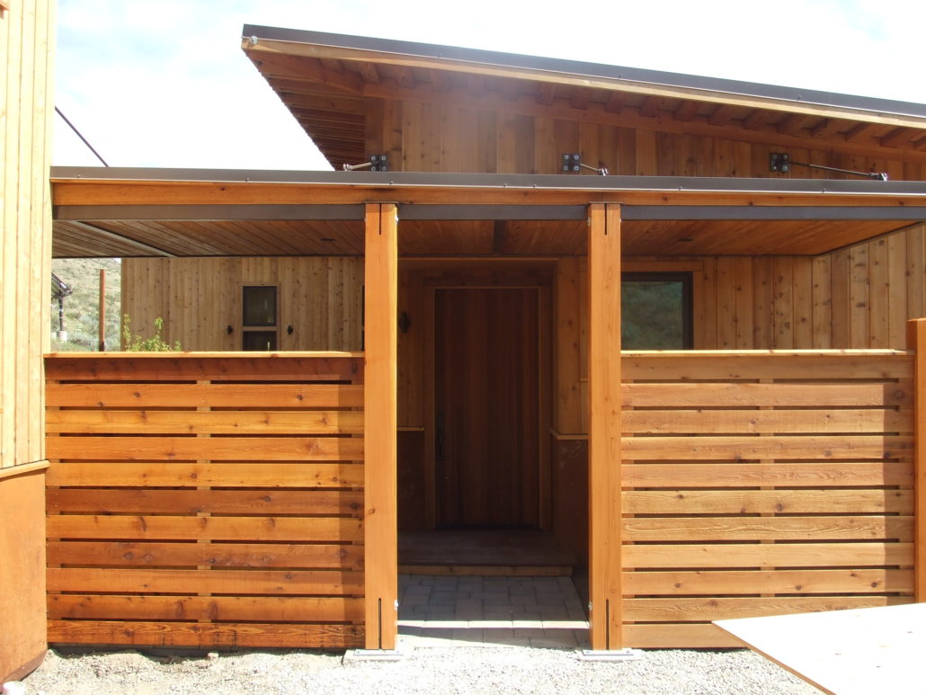 Cedar made Entry of home built in Winthrop