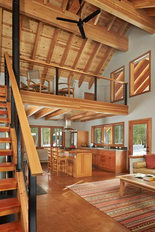 Study area of modern cabin home