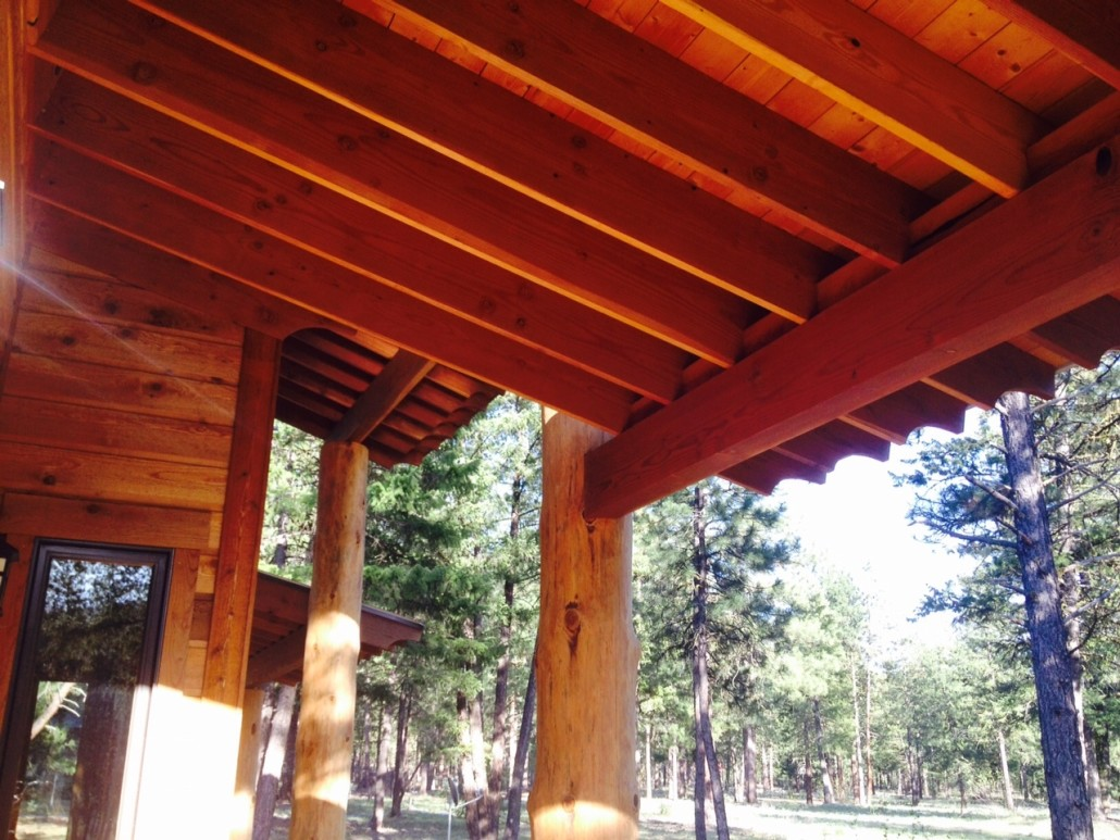 Beams on Covered Porch on Mazama cabin